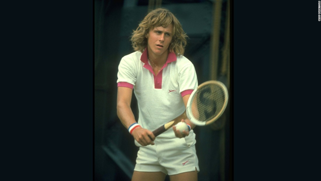Bjorn Borg (seen serving in 1974 at the SW19 tournament) is the greatest Wimbledon men's champion of the pre-graphite racket era. The added four centimeters of width introduced more power to the game, according to an Australian sports physicist, leading to more injuries. Borg won five consecutive Wimbledon titles, from 1976 to 1980.