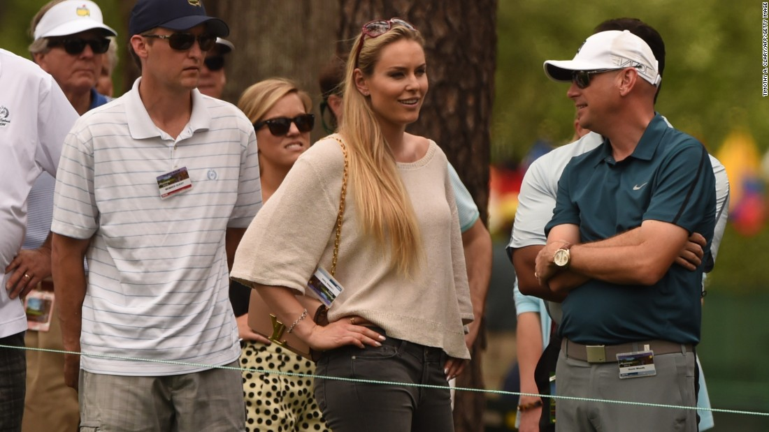 Vonn watches Woods during the Masters golf tournament earlier this year.