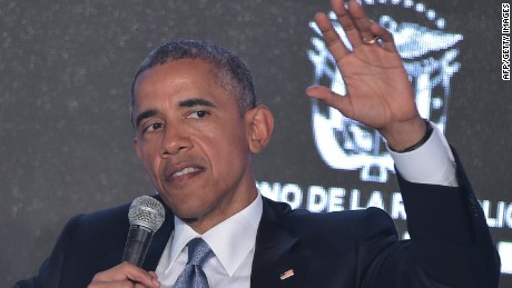 "US President Barack Obama takes part in the CEO Summit of the Americas at a hotel in Panama City on April 10, 2015. Obama and Cuban leader Raul Castro will have a ""discussion"" on the second day of the Summit of the Americas on Saturday, a White House official said. AFP PHOTO/MANDEL NGANMANDEL NGAN/AFP/Getty Images"