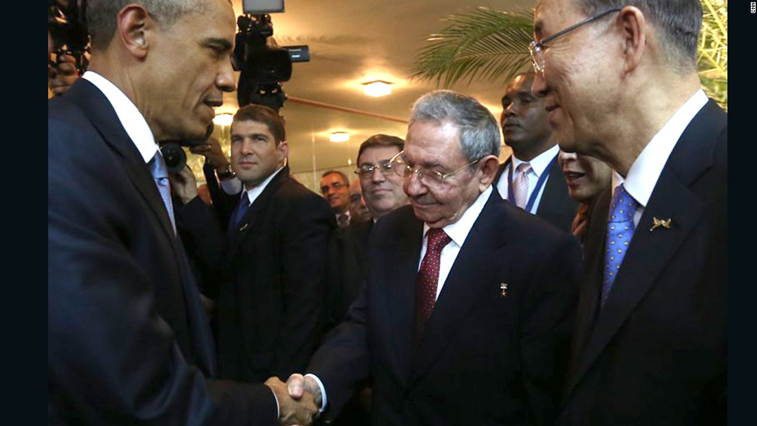"Obama greets Castro briefly on Friday, April 10, at a dinner for Latin American leaders at the Summit of the Americas. It was a <a href=""http://www.cnn.com/2015/04/10/politics/obama-raul-castro-panama-cuba/index.html"">handshake that shook the Western Hemisphere</a>."