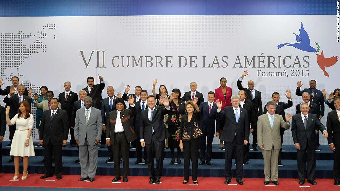 Presidents and heads of state get together for a group photo at the summit on April 11.