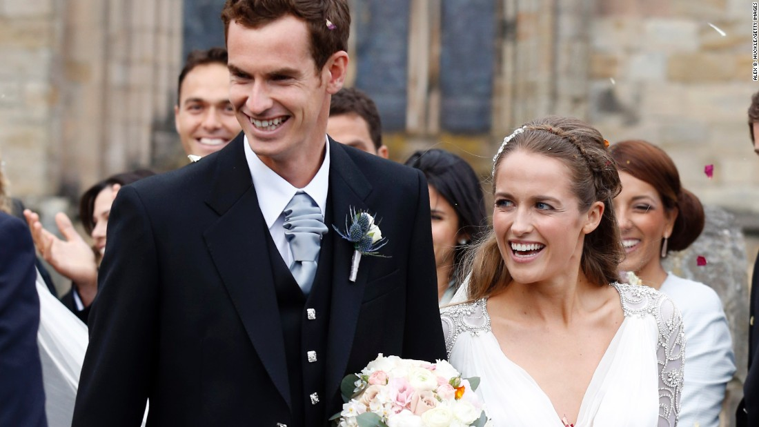 Andy Murray and Kim Sears leave the cathedral after the ceremony.