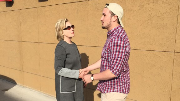 Hillary Clinton meets Chris Learn, a 19-year-old Penn State student, on a break during her road trip from New York to Iowa.
