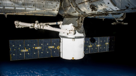 The SpaceX Dragon spacecraft carries supplies to the International Space Station.