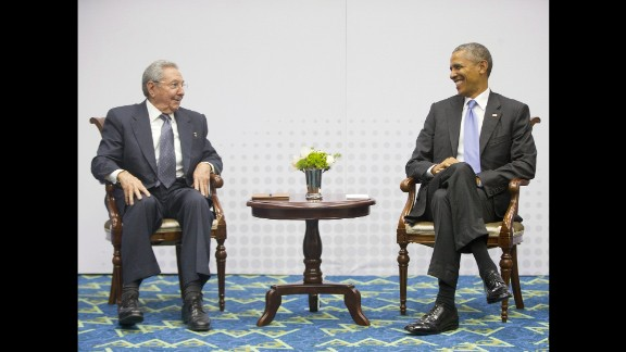 President Barack Obama holds a joint press meeting with Cuban President Raul Castro at the VII Summit of the Americas in Panama City, Panama, on Saturday, April 11. Regional leaders gathered for the historic summit that saw U.S. and Cuban leaders sit face to face for the first time in more than 50 years. In December, Obama announced he was seeking to renew diplomatic ties with Cuba after half a century of strife, including eventually opening embassies in Washington and Havana.
