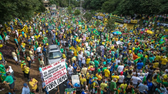 Protesters gather in Porto Alegre. The President has not been implicated in the investigation, but she was the Energy Minister and chairwoman of Petrobras during much of the time that the alleged corruption took place.