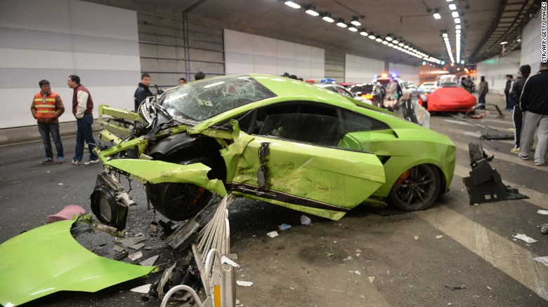 luxury car accident  China: Luxury cars wrecked in racing collision - CNN