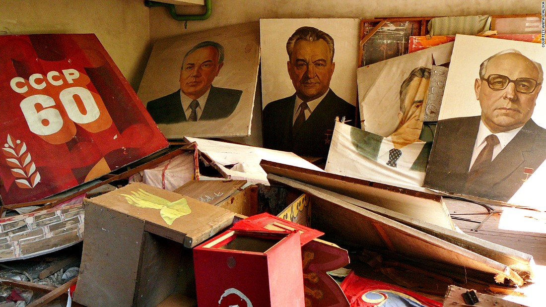 Soviet-era portraits, posters and a ballot box inside the abandoned Soviet city of Pripyat.