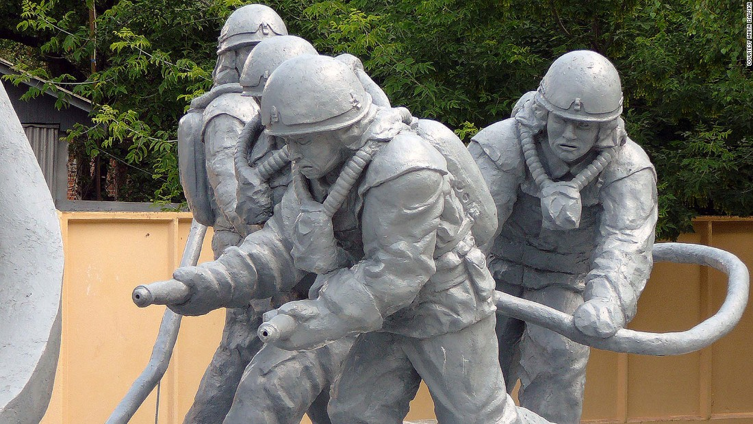 A monument to the men who gave their lives fighting the fires at Chernobyl power plant stands in the town.
