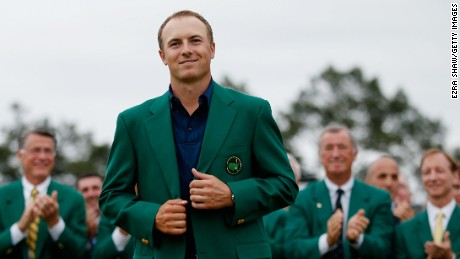 Jordan Spieth of the United States poses with the green jacket after winning the 2015 Masters Tournament at Augusta National Golf Club on April 12, 2015 in Augusta, Georgia. (Photo by Ezra Shaw/Getty Images)