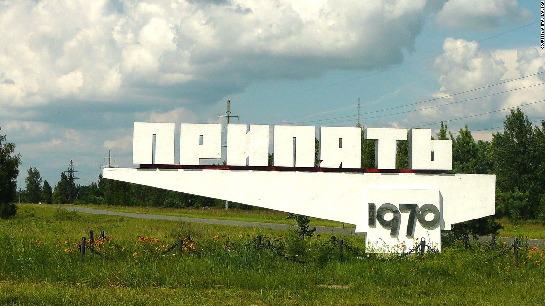 "This sign on the city's limits reads ""Pripyat"" and gives its foundation year, 1970."
