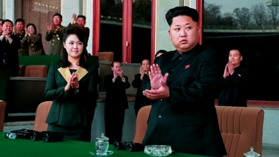 A more sombre moment at the event, which occurred Monday, April 13, at Kim Il Sung Stadium in Pyongyang, according to North Korean state news agency KCNA.