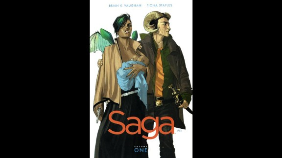"""""""Saga"""" is a comic book series challenged, according to the American Library Association, for an """"anti-family"""" stance, among other things. According to its publisher, Image Comics, the serial """"depicts two lovers from long-warring extraterrestrial races ... fleeing authorities from both sides of a galactic war as they struggle to care for their newborn daughter."""""""