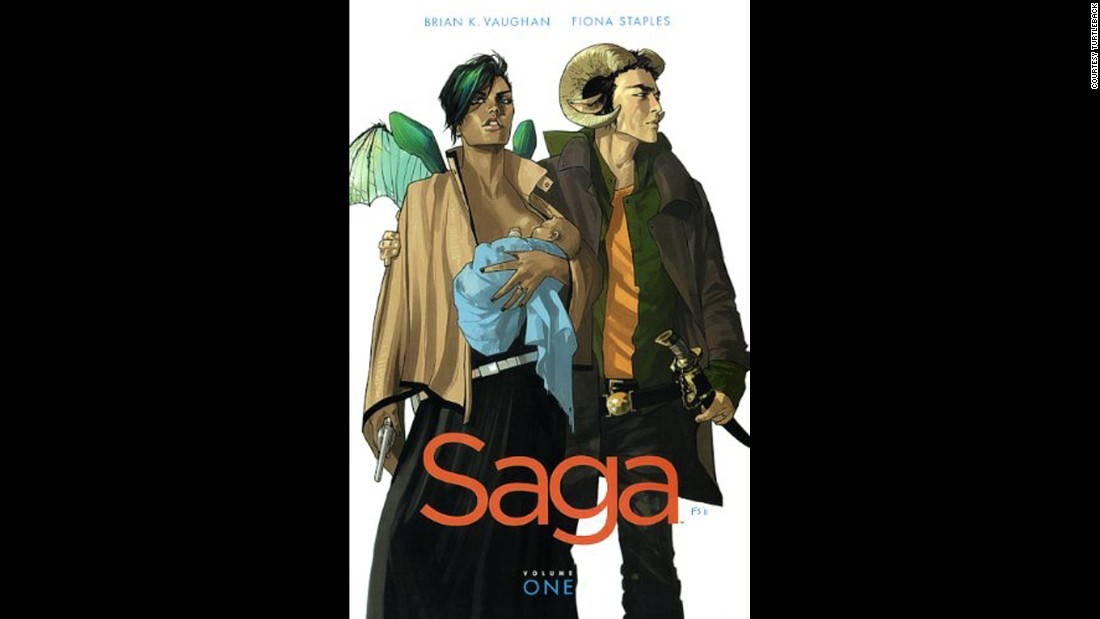 """Saga"" is a comic book series challenged, according to the American Library Association, for an ""anti-family"" stance, among other things. According to its publisher, Image Comics, the serial ""depicts two lovers from long-warring extraterrestrial races ... fleeing authorities from both sides of a galactic war as they struggle to care for their newborn daughter."""