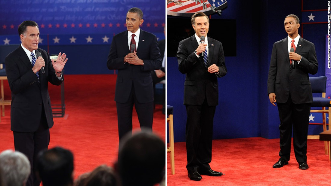 """Saturday Night Live"" often mocks presidential debates soon after they happened. Jason Sudeikis and Jay Pharoah portrayed Mitt Romney and Obama in 2012."