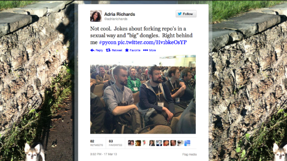 "Not long after Adria Richards posted this photo of two unnamed men at a tech conference, calling them out for a joke she overheard, the one on the left was fired. ""I did not mean to offend anyone,"" he apologized. Then Richards was sent death threats, and her employer's servers were attacked. She was soon fired, too. In a statement, she said that ""I want to be an integral part of a diverse, core group of individuals that comes together in a spirit of healing and openness to devise answers to the many questions that have arisen in the last week."""