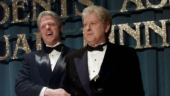 "President Bill Clinton laughs with lookalike Darrell Hammond at the annual dinner of the Radio and Television Correspondents' Association in 1997. Hammond portrayed Clinton on ""Saturday Night Live."""