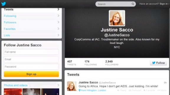 "PR executive Justine Sacco was fired after a 2013 tweet, intended as a joke, went viral. ""Words cannot express how sorry I am, and how necessary it is for me to apologize to the people of South Africa, who I have offended due to a needless and careless tweet,"" she said in a statement."