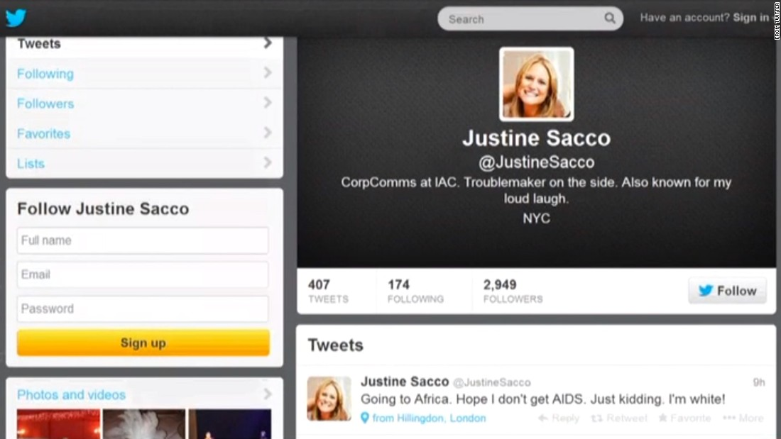"PR executive Justine Sacco was fired after a 2013 tweet, intended as a joke, went viral. ""Words cannot express how sorry I am, and how necessary it is for me to apologize to the people of South Africa, who I have offended due to a needless and careless tweet,"" <a href=""http://www.theguardian.com/world/2013/dec/22/pr-exec-fired-racist-tweet-aids-africa-apology"" target=""_blank"">she said in a statement</a>."