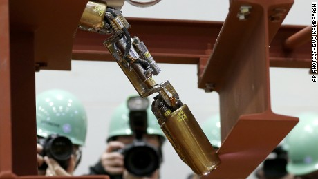 This file photo from February 2015 shows the same robot that was sent into the damaged reactor inside the Fukushima nuclear plant.
