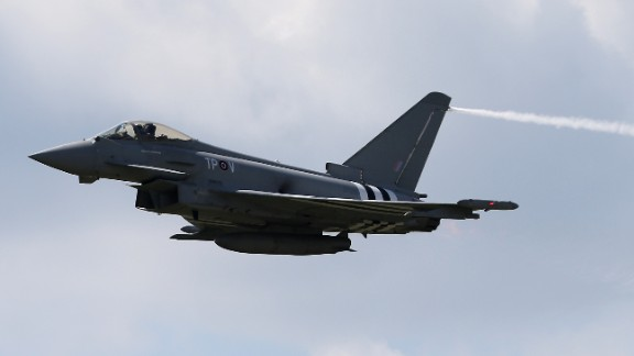 UK Royal Air Force Typhoons, similar to this one seen in 2014, scrambled to intercept Russian bombers flying near British airspace, the British Defence Ministry said. It is one of the latest incidents in what NATO has said is an increase in Russian military flights near alliance members