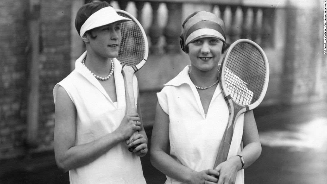 """One of the earliest innovations they had was the wearing of all-white, which caught on pretty quickly because it was a way for sweat to be hidden,"" explains Rothenberg of a dress code that still remains at Wimbledon today.<br />""Especially for the women, being seen to be perspiring was unthinkable and incredibly unsightly.""<br />By the 1920s, sportswear had become less restrictive, with these two women wearing sleeveless tops and sun visors in 1926."