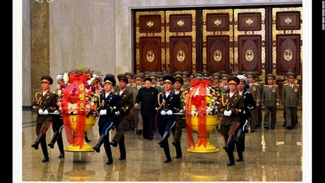 Kim entered the hall and placed floral tributes in front of statues of the country's former leaders. Kim became leader of the reclusive nation in late 2011, following the death of his father, Kim Jong Il, who took over from his own father, Kim Il Sung in 1994.