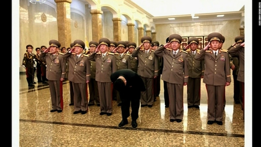 North Korean leader Kim Jong Un bows deeply as he visits the Palace of the Sun in Pyongyang to pay his respects to Kim Il Sung, his grandfather, on the 103rd anniversary of the late leader's birthday.