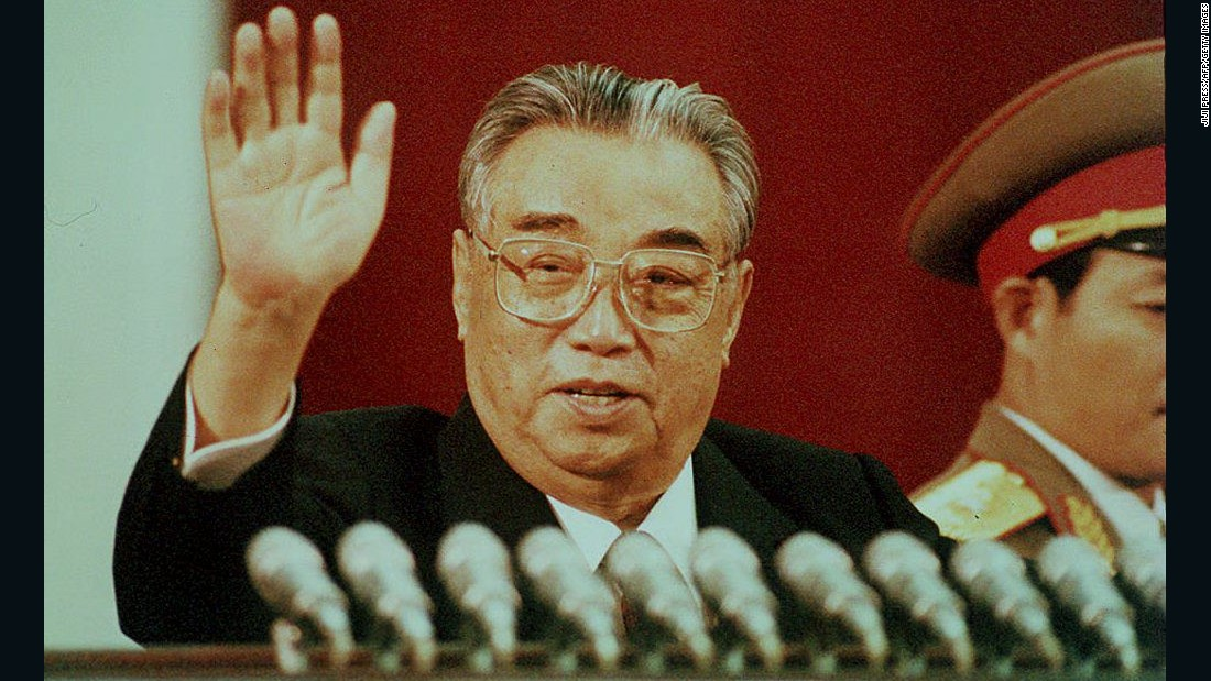This file image dated 15 April 1992 shows former North Korean leader Kim Il Sung waving during celebrations marking his 80th birthday at Kim Il Sung stadium in Pyongyang.