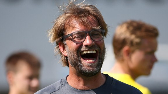 Head coach Juergen Klopp laughs during a training session in the Borussia Dortmund training camp on July 31, 2014 in Bad Ragaz, Switzerland. (Photo by Philipp Schmidli/Bongarts/Getty Images)