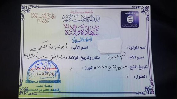 "This birth certificate from the Halab Health Department records information for babies born in the ISIS-created province or ""wilayat."""