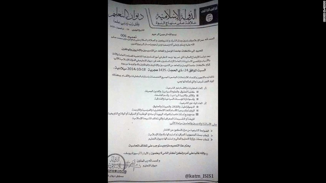 "This notice declares that the University of Mosul will open on October 18, 2014, but that the philosophy and archeology departments, among others, will remain closed.  Staff are told to replace all mentions of the ""Republic of Iraq"" with ""Islamic State."""