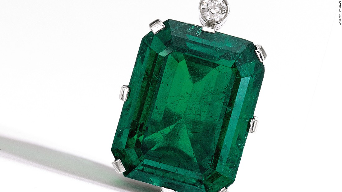 The 3.5-carat Flagler Emerald originally belonged to a wife of Henry Flagler, a 19th-century American industrialist. It fetched $2.8 million at Sotheby's auction on Tuesday.