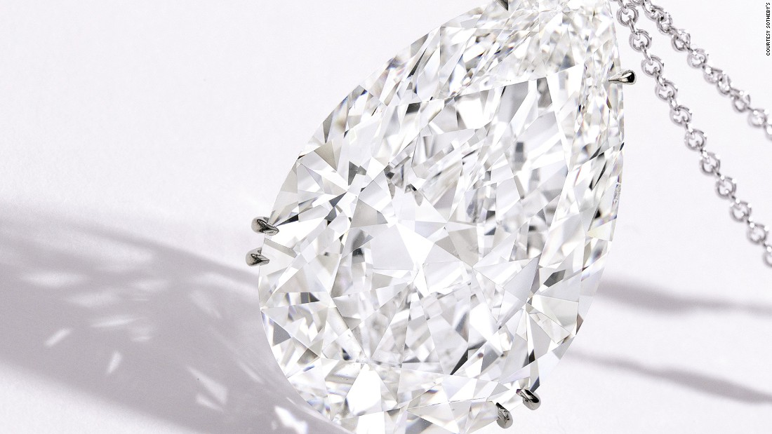 The next most valuable diamond at the auction, a pendant on a platinum chain, isn't flawless, but is still notable for its polish, clarity and symmetry. Its pre-auction estimate was between $3.8 and $4.2M.