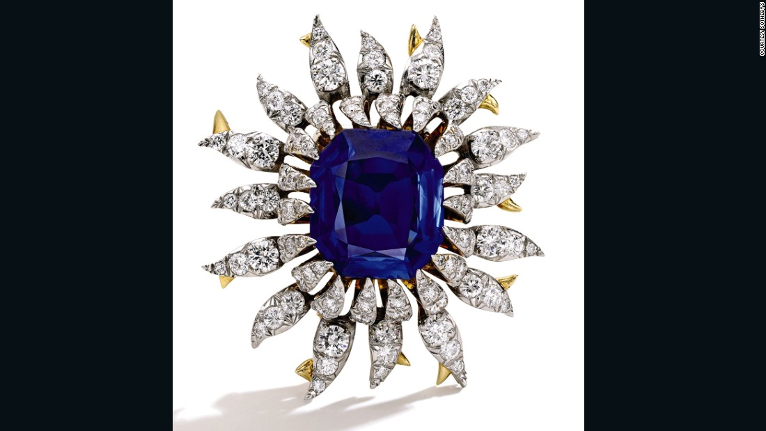 This gold, platinum and sapphire brooch from Tiffany & Co. was one of many nature-inspired pieces from French designer  Jean Schlumberger in the 1960s. The centerpiece is a sapphire of approximately 17 carats. It sold to an online bidder on Tuesday for $1M.