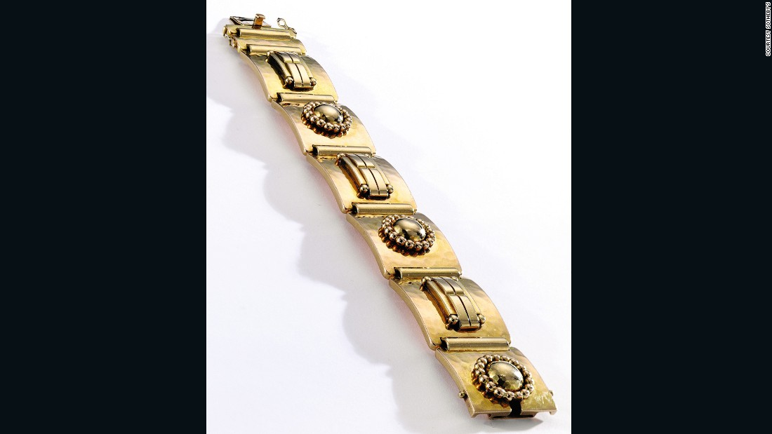 For those looking to avoid ostentatious jewels altogether, this Jean Després 18 karat gold bracelet from the 1930s is the perfect choice. The new owner paid $125,000.