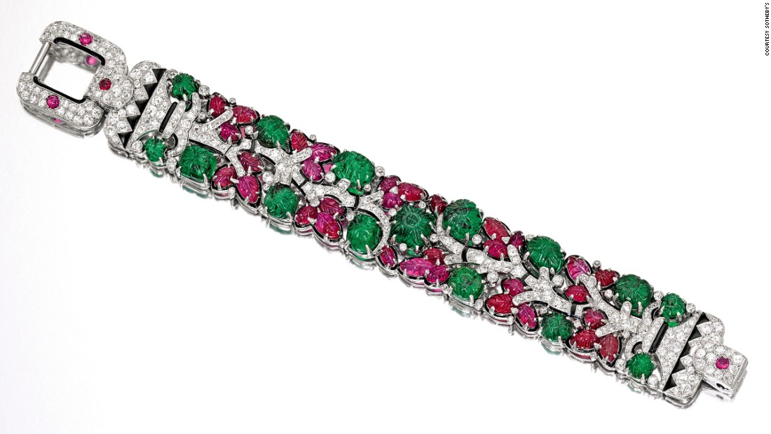 Equally colorful is this Tutti Frutti Cartier Bracelet from the 1920s, which is made of platinum, enamel, emeralds, rubies and diamonds. It sold for $1.63M with buyer's premium.