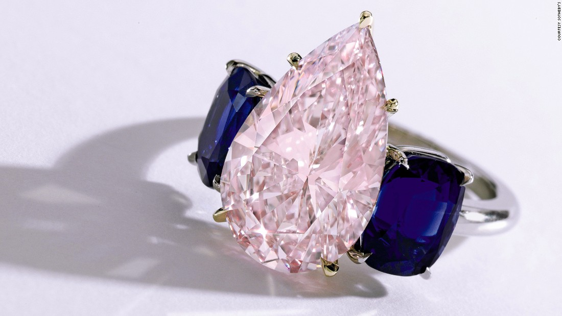This purple-pink diamond, set between two sapphires, provides a great alternative to the classic white. It sold for $2.4 million.