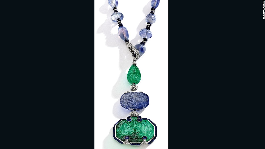 "This Mughal Empire-inspired necklace -- a combination of platinum, emerald, sapphire, lapis and diamond -- was recently part of the <a href=""http://denverartmuseum.org/exhibitions/brilliant-cartier-20th-century"" target=""_blank""><em>Brilliant: Cartier in the 20th Century</a></em> exhibition at the Denver Art Museum. Tuesday's buyer paid $2.6 million."