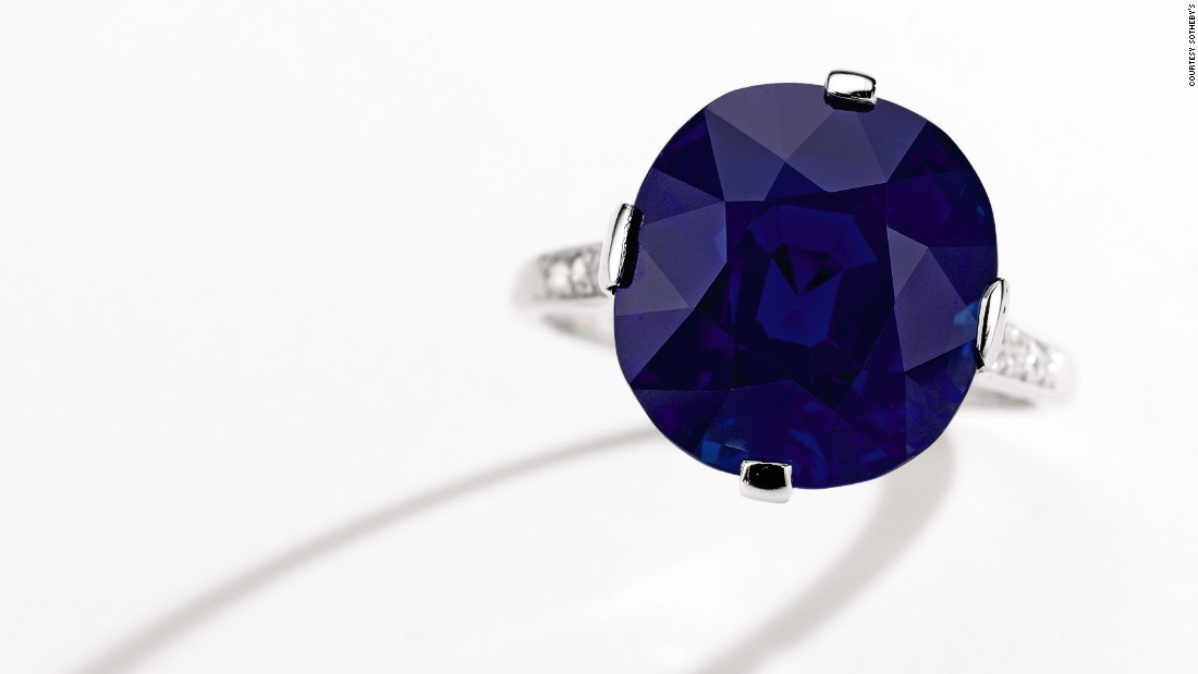 Kashmir sapphires featured heavily in the lot. This ring from Cartier, which was created around 1915, combines platinum, diamonds and one spectacular sapphire. It sold to an online bidder for $1.9 million.
