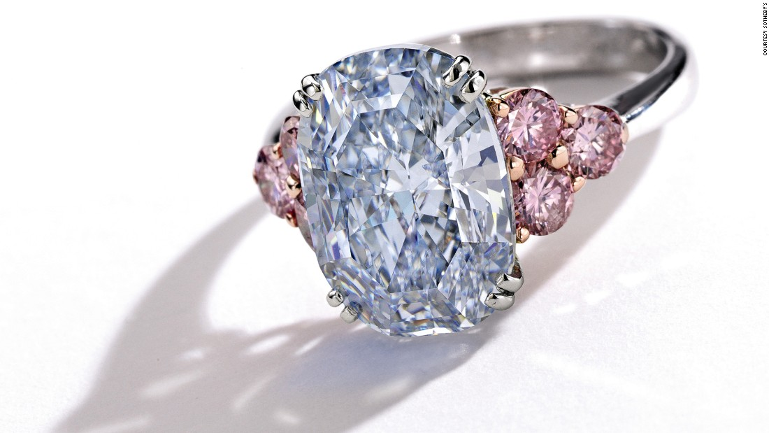 Other colored diamonds include The Monarch Blue Diamond ring, which has a blue diamond surrounded by six pink ones. It had been expected to sell for up to $4.5M.