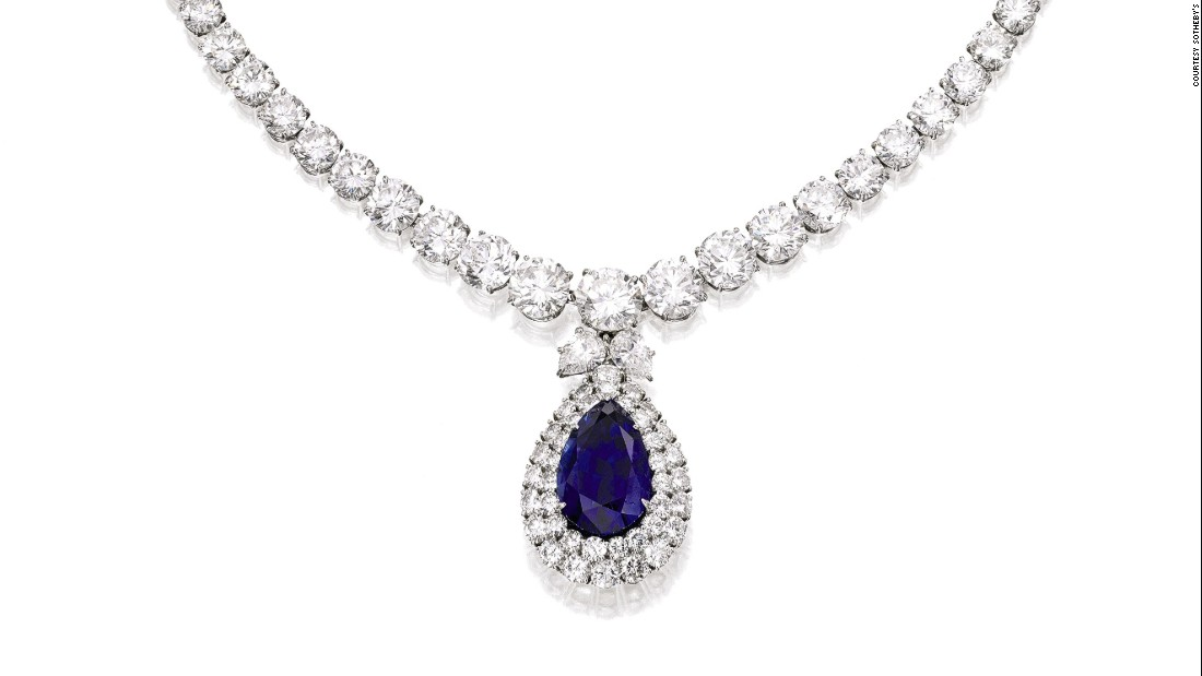 The Spectacular Bid Collection of Harry Winston pieces is inspired by an American racehorse. The Burmese sapphire that is the focal point of this necklace is a nod to the stallion's racing colors.  It sold for $430,000 with buyer's premium.