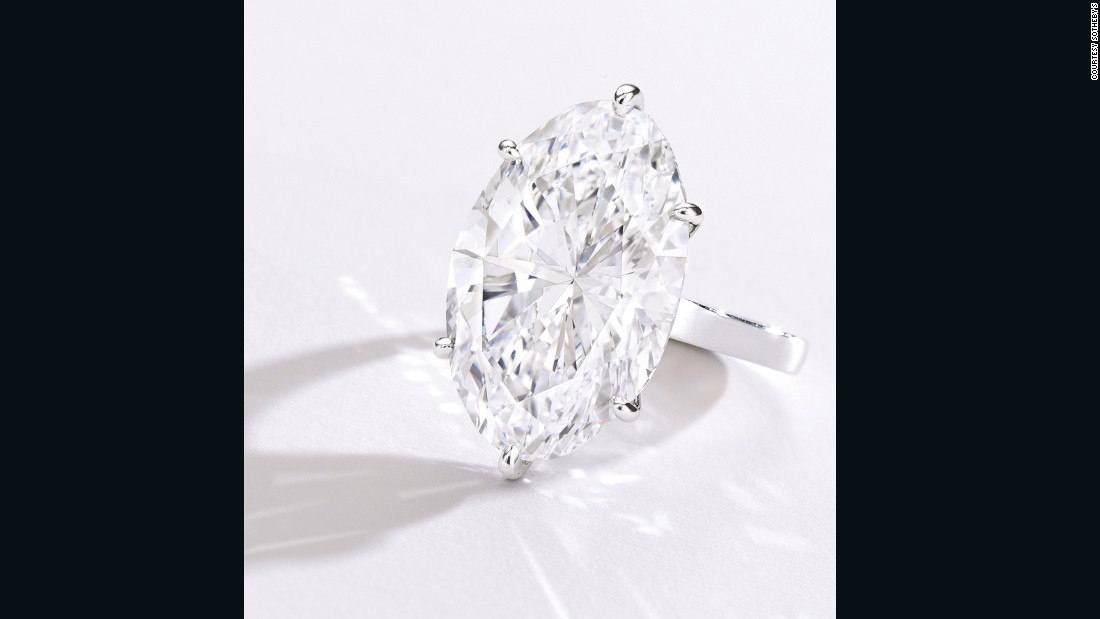 This oval-shaped 22.30 carat diamond ring sold to an online bidder for $3.3 million.