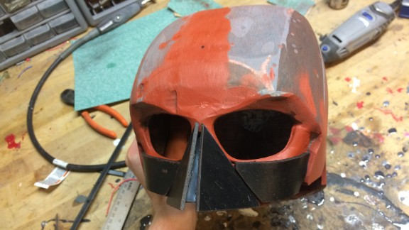 The cowl was the hardest part to construct, first made from Sintra, sculpting clay and soft plastics.