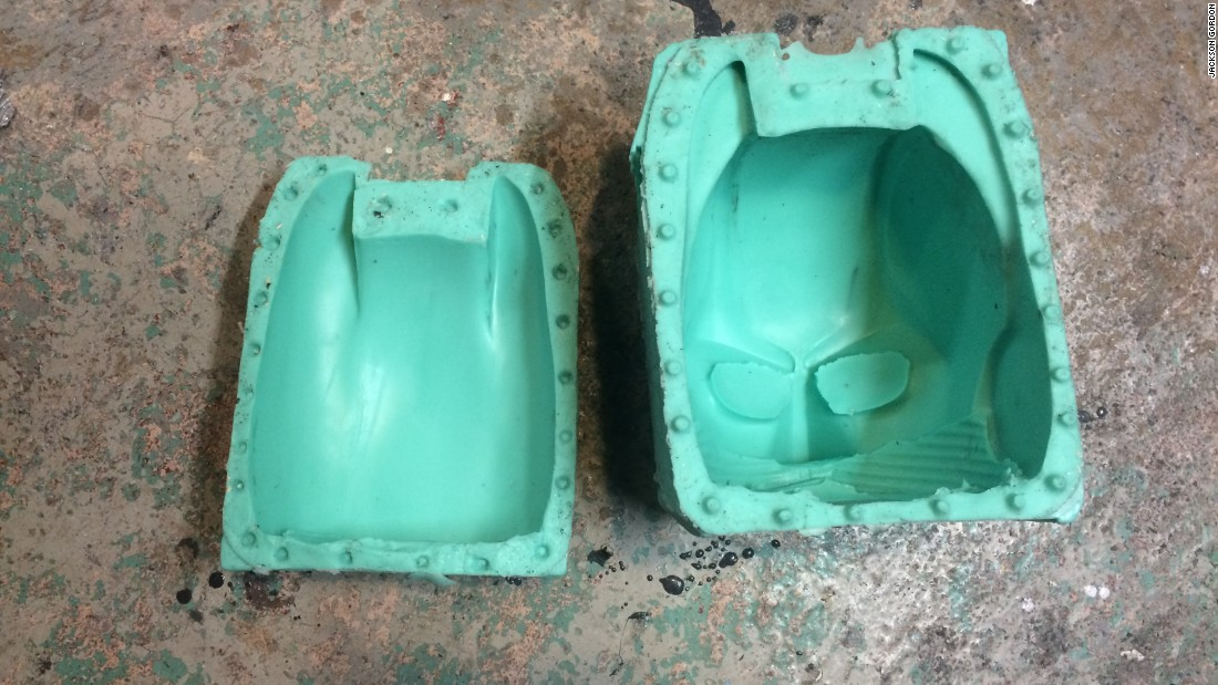 A two part mold was then created from it, into which liquid polyurethane was poured to form the final product.