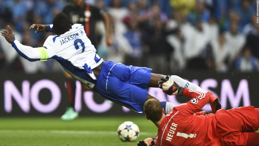 Manuel Neuer concedes the penalty which saw Bayern Munich fall an early goal down to Porto.