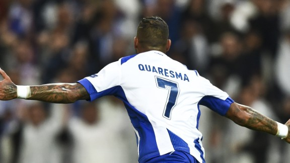 Ricardo Quaresma celebrates after scoring from the spot to put Porto 1-0 up against Bayern Munich and he quickly added a second.