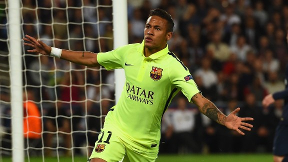 Neymar with his fourth Champions League goal of the season puts Barcelona in front at PSG.