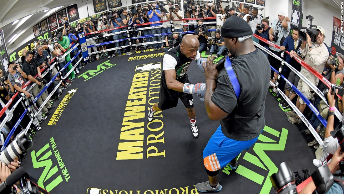 """This is going to be an exciting fight. Our styles are totally different. He is very, very reckless. Every move I make is calculated. I'm always five, 10 steps ahead of my opponent"" WBC/WBA welterweight champion Floyd Mayweather said of his rival Manny Pacquiao as reporters packed into the Mayweather Boxing Club."