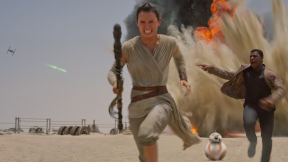 Daisy Ridley portrays the female lead of the movie, Rey, who is often accompanied by her droid BB-8, an early fan favorite.